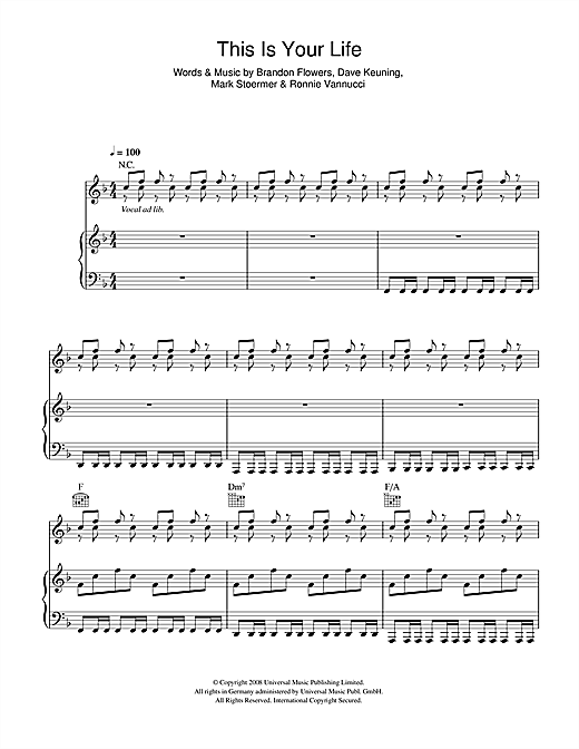 The Killers This Is Your Life sheet music notes and chords. Download Printable PDF.