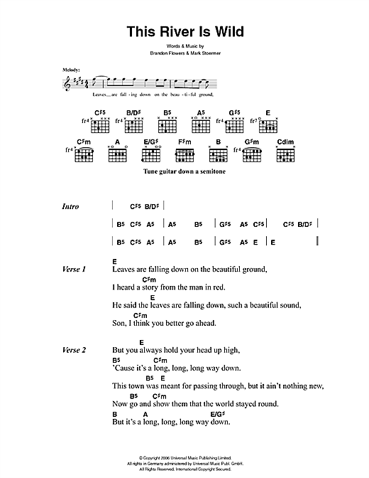 The Killers This River Is Wild sheet music notes and chords. Download Printable PDF.
