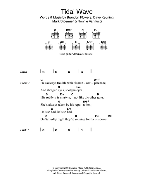 The Killers 'Tidal Wave' Sheet Music Notes, Chords | Download Printable  Lyrics & Chords - SKU: 108443