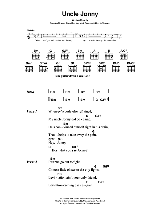 The Killers Uncle Jonny sheet music notes and chords. Download Printable PDF.
