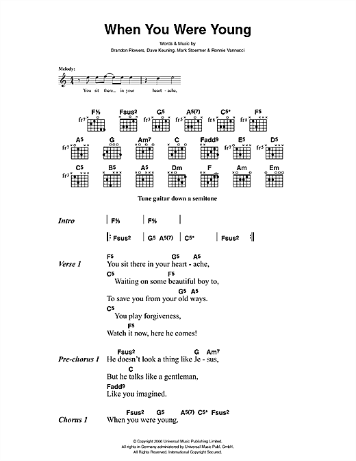 The Killers When You Were Young sheet music notes and chords. Download Printable PDF.