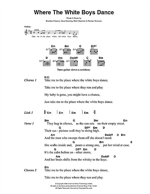 The Killers Where The White Boys Dance sheet music notes and chords