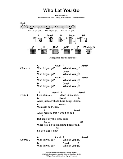 The Killers Who Let You Go sheet music notes and chords