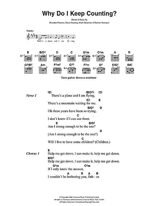 The Killers Why Do I Keep Counting sheet music notes and chords. Download Printable PDF.