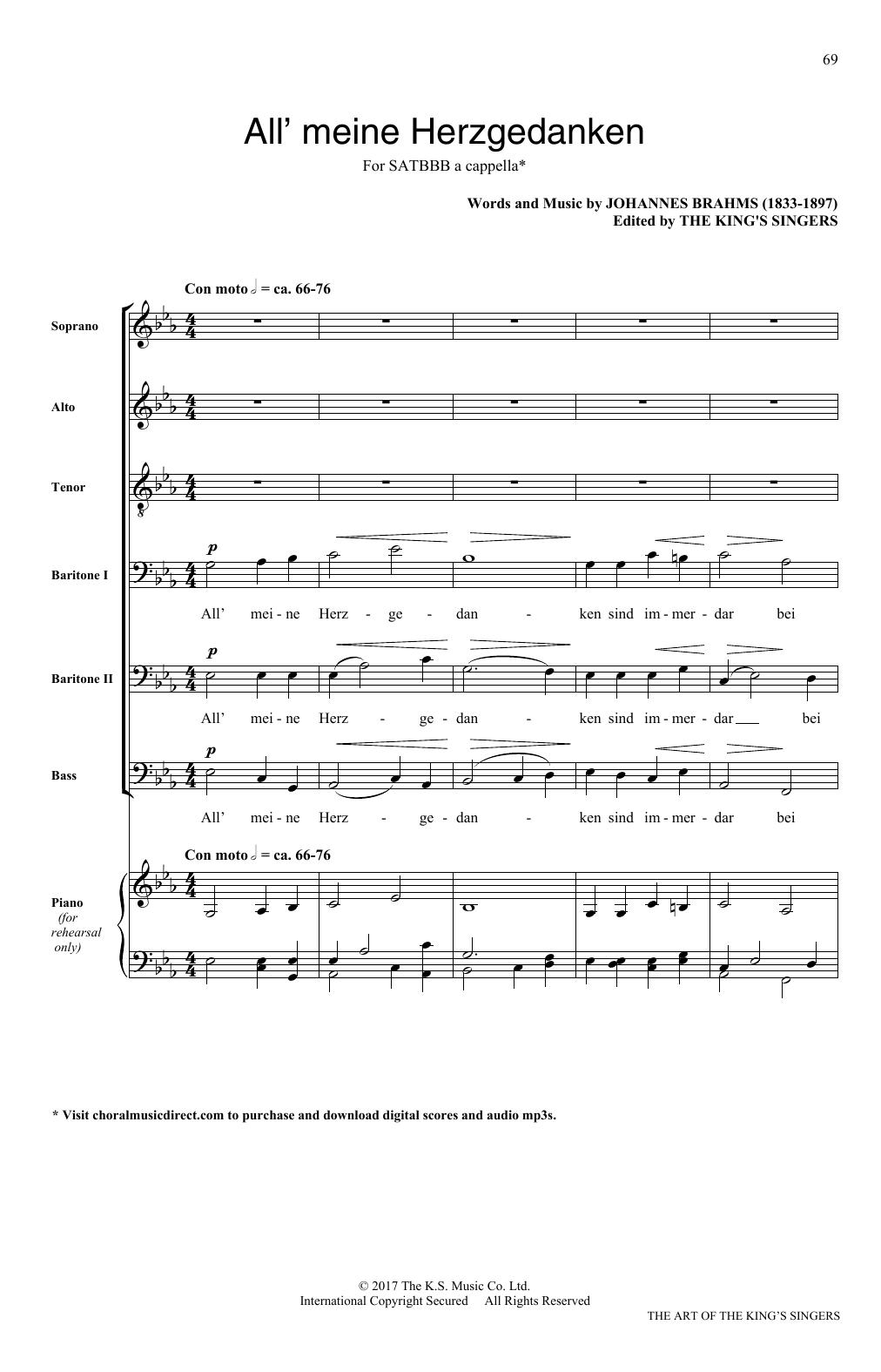 Johannes Brahms Alle meine Herzgedanken sheet music notes and chords. Download Printable PDF.