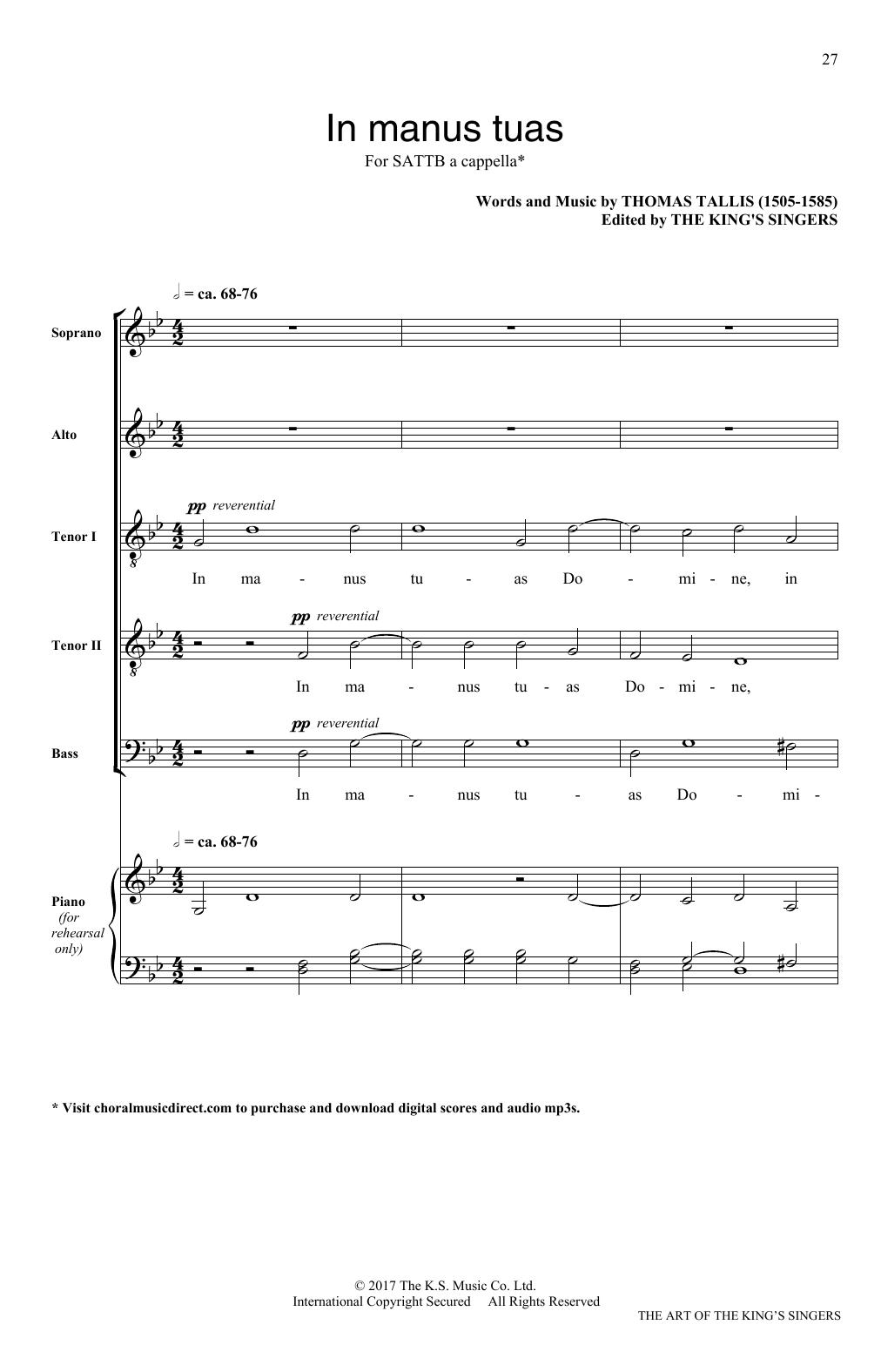 Thomas Tallis In Manus Tuas sheet music notes and chords. Download Printable PDF.
