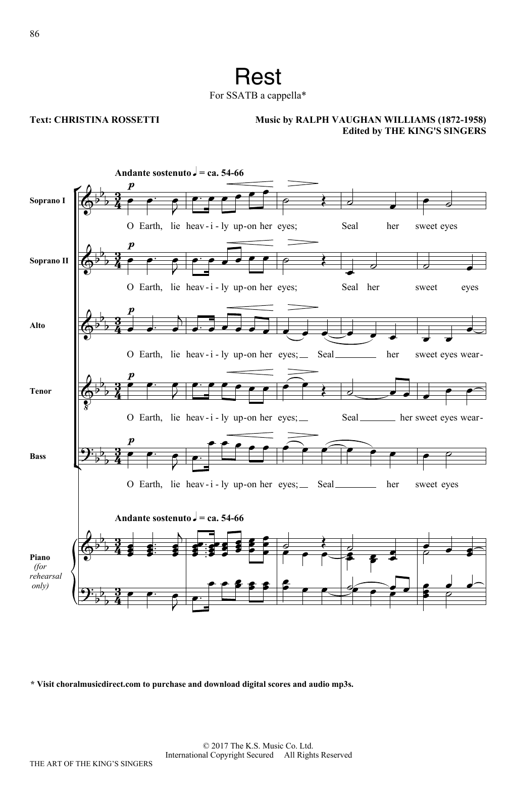Ralph Vaughan Williams Rest sheet music notes and chords. Download Printable PDF.