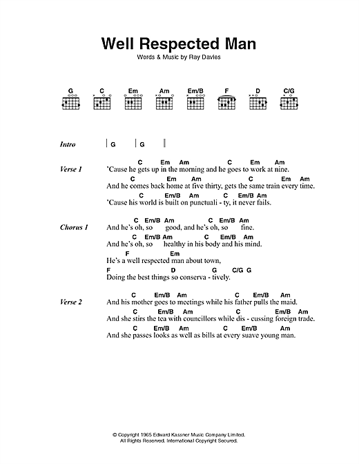 The Kinks A Well Respected Man sheet music notes and chords. Download Printable PDF.