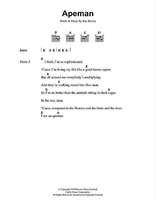 The Kinks Apeman sheet music notes and chords. Download Printable PDF.