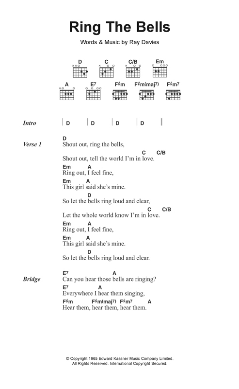 The Kinks Ring The Bells sheet music notes and chords. Download Printable PDF.