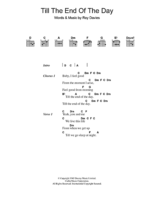 The Kinks Till The End Of The Day sheet music notes and chords. Download Printable PDF.