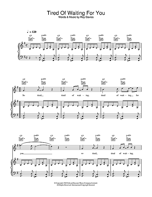 The Kinks Tired Of Waiting For You sheet music notes and chords. Download Printable PDF.