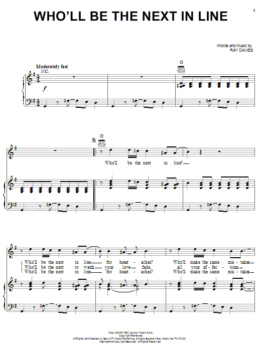 The Kinks Who'll Be The Next In Line sheet music notes and chords. Download Printable PDF.