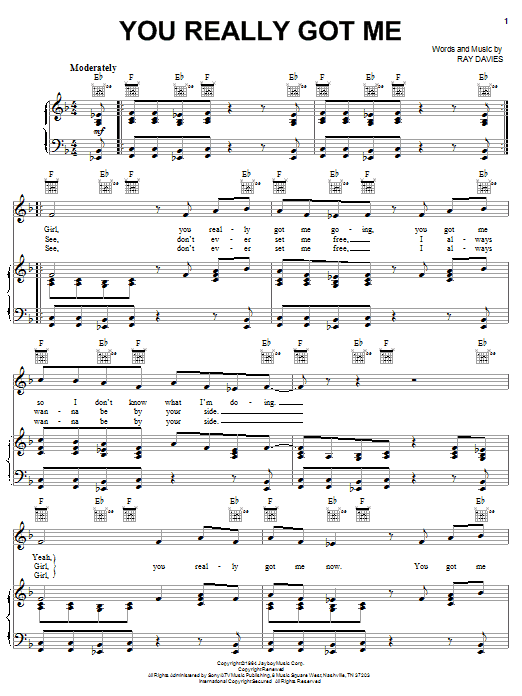 The Kinks You Really Got Me sheet music notes and chords. Download Printable PDF.