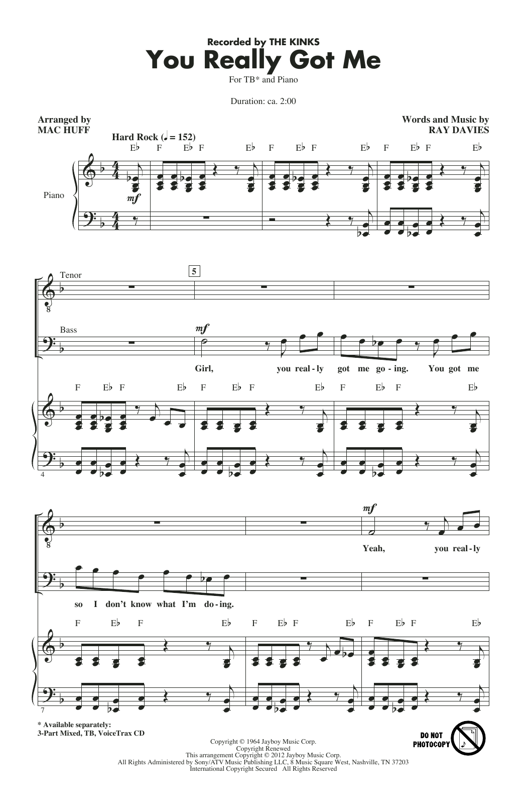 The Kinks You Really Got Me (arr. Mac Huff) sheet music notes and chords. Download Printable PDF.