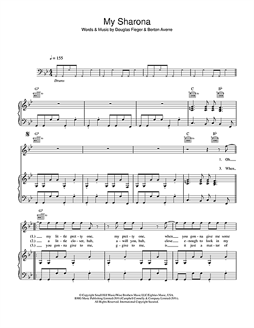The Knack My Sharona sheet music notes and chords. Download Printable PDF.