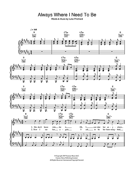 The Kooks Always Where I Need To Be sheet music notes and chords. Download Printable PDF.