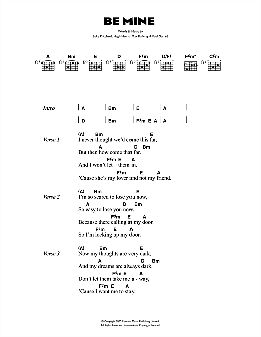 The Kooks Be Mine sheet music notes and chords. Download Printable PDF.