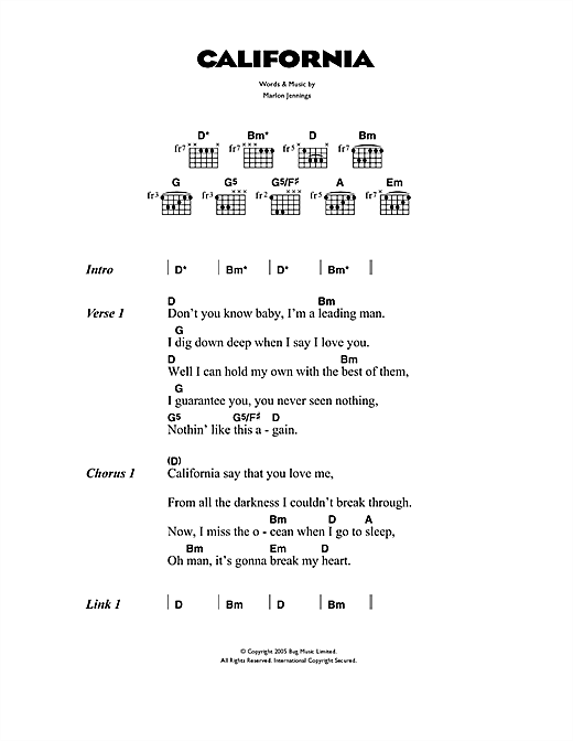 The Kooks California sheet music notes and chords. Download Printable PDF.