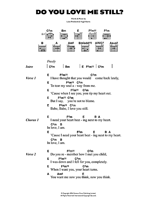 The Kooks Do You Love Me Still? sheet music notes and chords. Download Printable PDF.