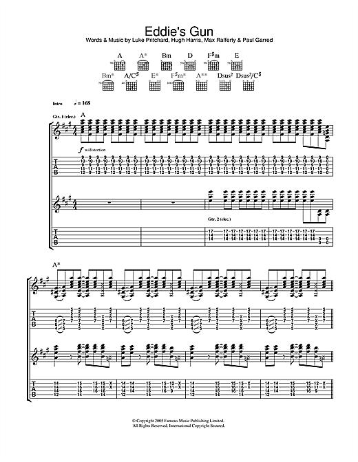 The Kooks Eddie's Gun sheet music notes and chords. Download Printable PDF.