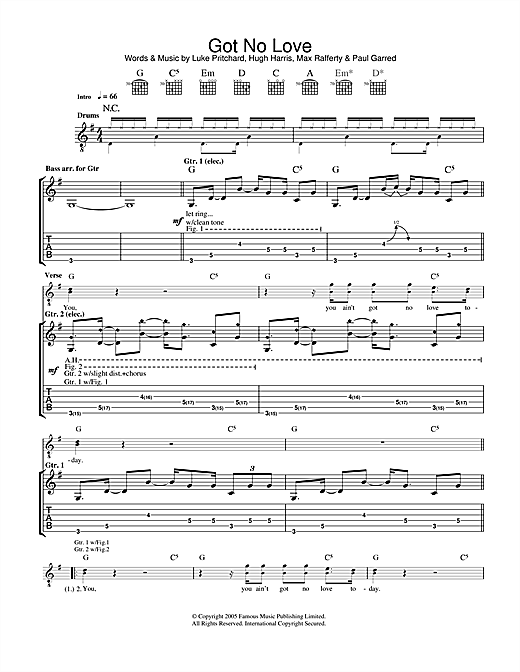 The Kooks Got No Love sheet music notes and chords. Download Printable PDF.