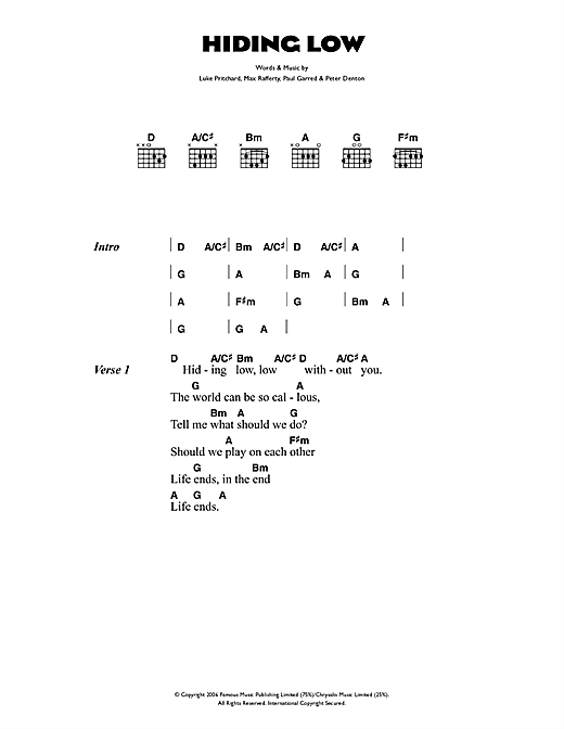 The Kooks Hiding Low sheet music notes and chords. Download Printable PDF.