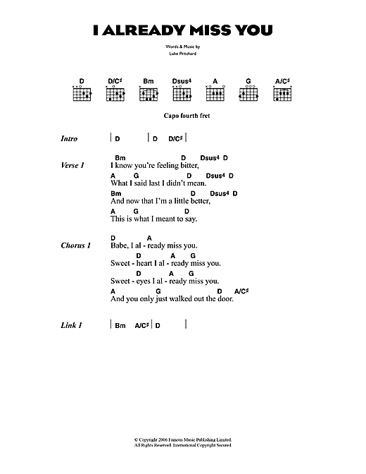 The Kooks I Already Miss You sheet music notes and chords. Download Printable PDF.