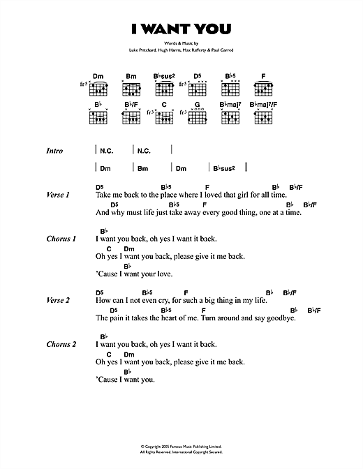 The Kooks I Want You sheet music notes and chords. Download Printable PDF.