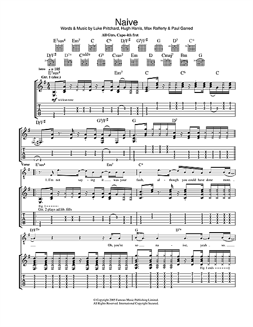 The Kooks Naive sheet music notes and chords. Download Printable PDF.