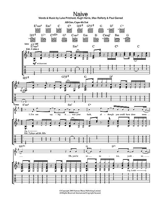 The Kooks Naive sheet music notes and chords