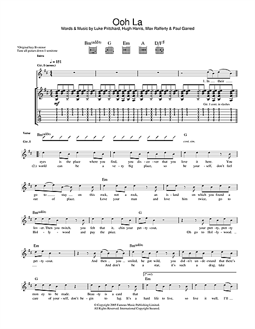 The Kooks Ooh La sheet music notes and chords. Download Printable PDF.