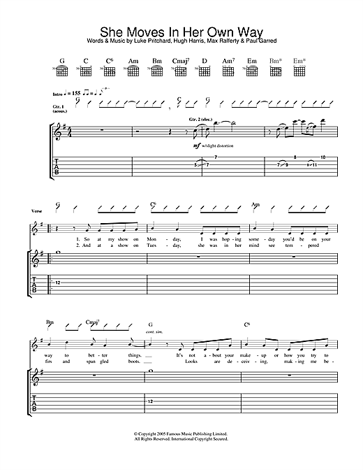 The Kooks She Moves In Her Own Way sheet music notes and chords. Download Printable PDF.