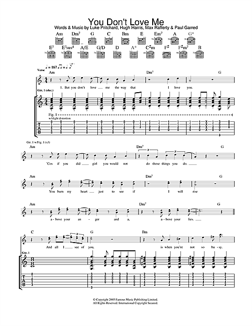 The Kooks You Don't Love Me sheet music notes and chords. Download Printable PDF.