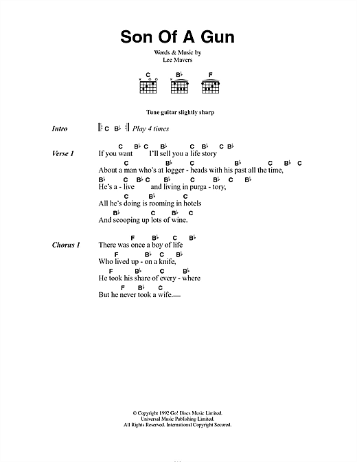 The La's Son Of A Gun sheet music notes and chords. Download Printable PDF.