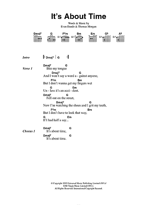 The Lemonheads It's About Time sheet music notes and chords. Download Printable PDF.