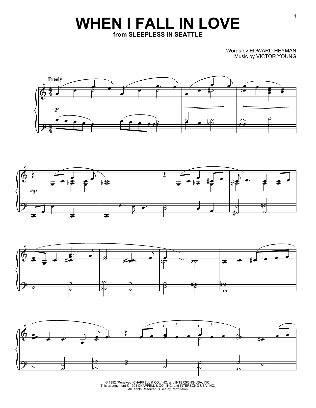 The Lettermen When I Fall In Love sheet music notes and chords