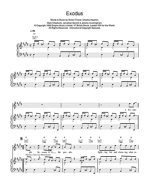 The Levellers Exodus sheet music notes and chords. Download Printable PDF.