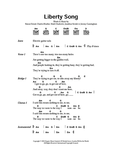 The Levellers Liberty Song sheet music notes and chords. Download Printable PDF.