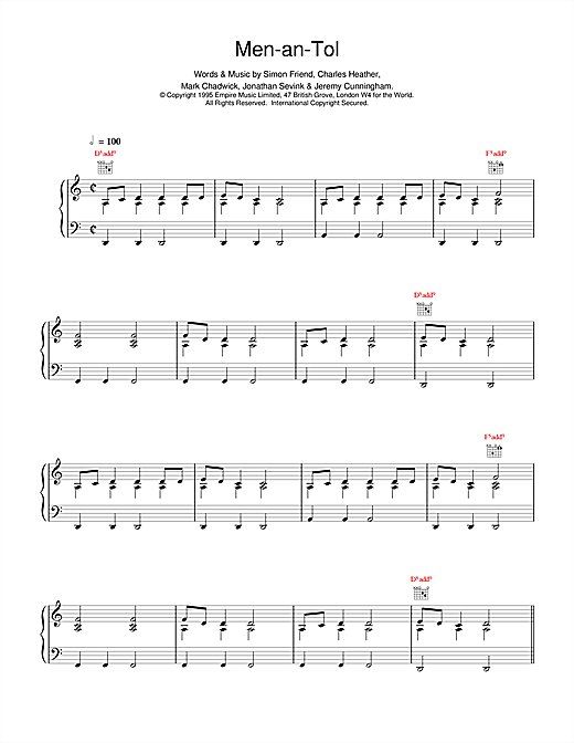 The Levellers Men-an-Tol sheet music notes and chords