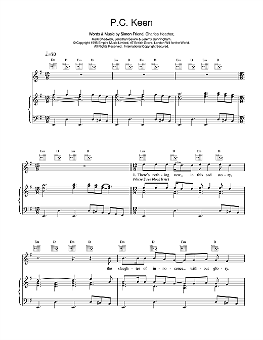 The Levellers P.C. Keen sheet music notes and chords. Download Printable PDF.