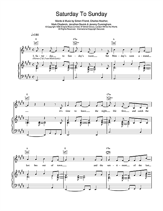 The Levellers Saturday To Sunday sheet music notes and chords