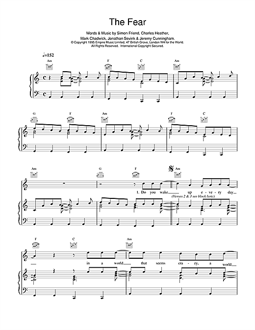 The Levellers The Fear sheet music notes and chords. Download Printable PDF.