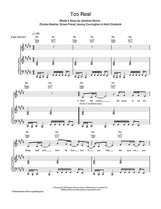 The Levellers Too Real sheet music notes and chords. Download Printable PDF.