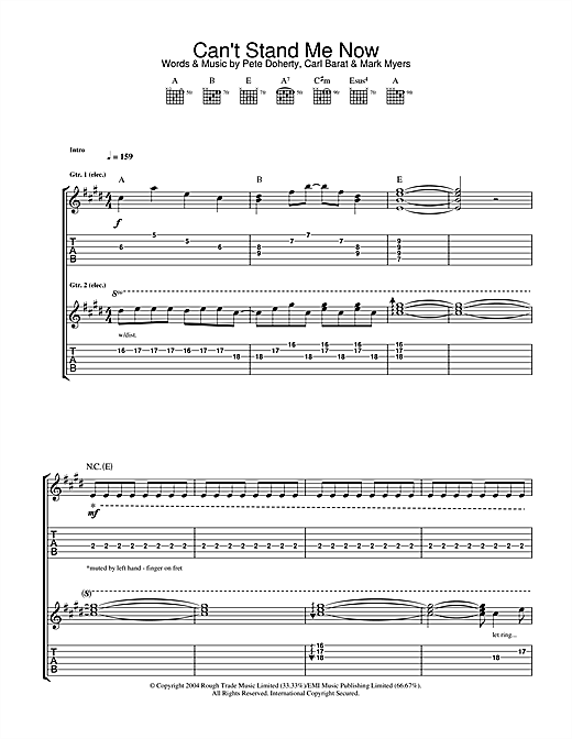 The Libertines Can't Stand Me Now sheet music notes and chords