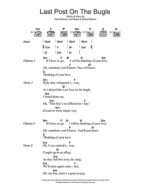 The Libertines Last Post On The Bugle sheet music notes and chords. Download Printable PDF.