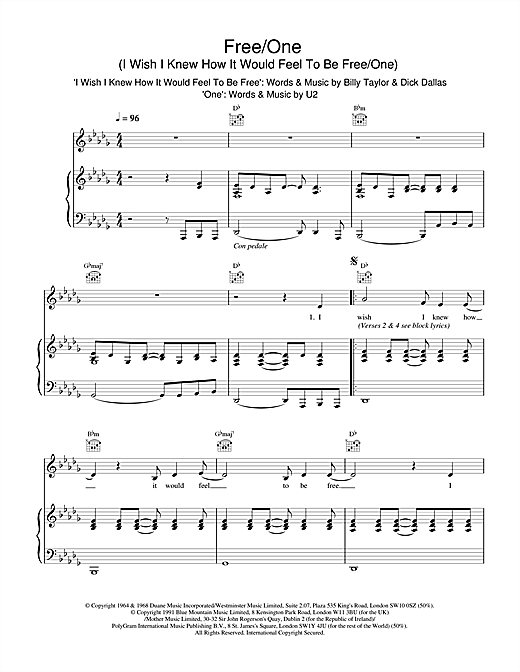 The Lighthouse Family Free/One (I Wish I Knew How It Would Feel To Be & One) sheet music notes and chords