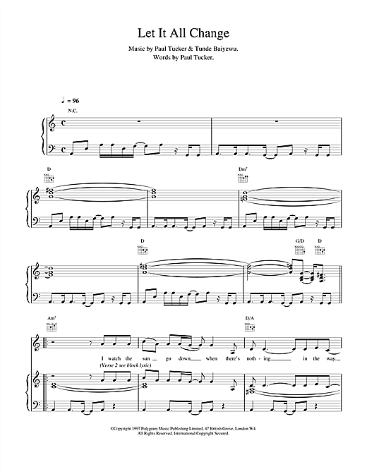 The Lighthouse Family Let It All Change sheet music notes and chords