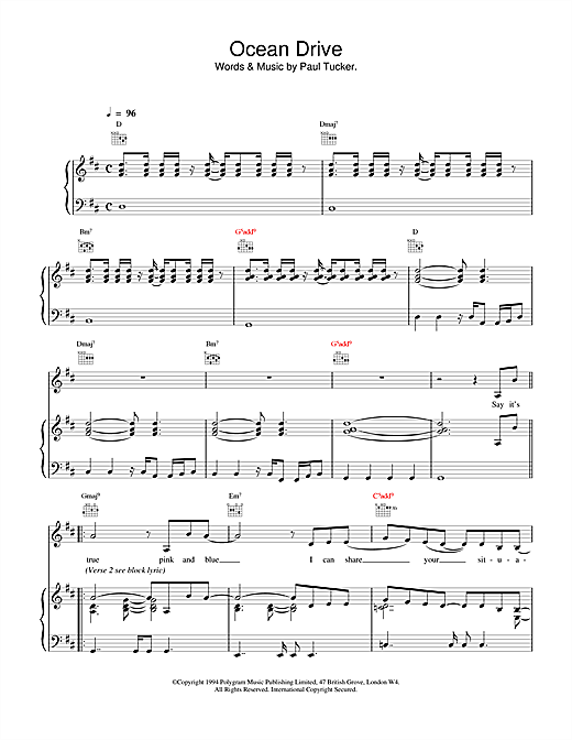 The Lighthouse Family Ocean Drive sheet music notes and chords