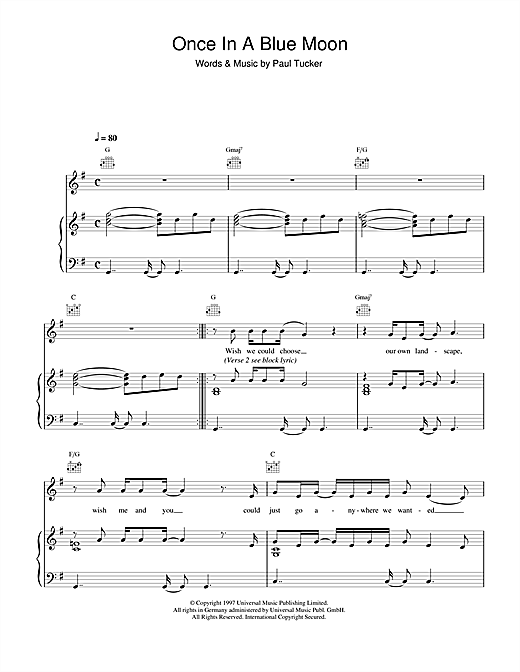 The Lighthouse Family Once In A Blue Moon sheet music notes and chords